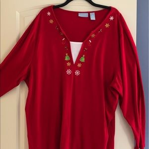 Liz and Me Womans Christmas Top 3x 26W Red Holiday